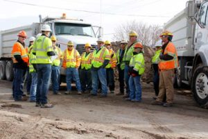 WW Clyde employees discuss safety and daily goals before each days work