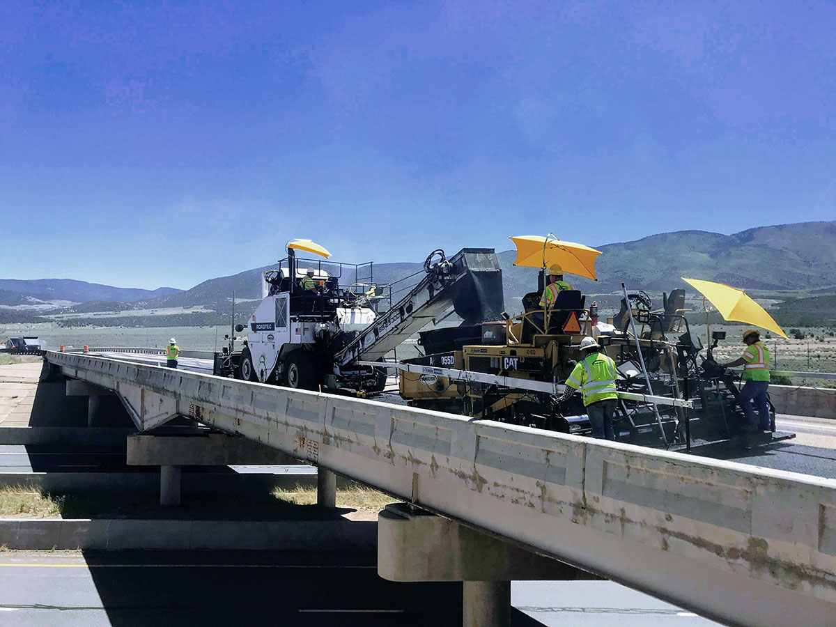 HMA paving on I-70 to Clear Creek