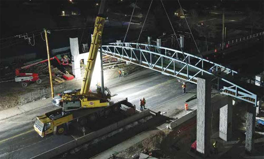 Pedestrian Bridge installation over Bangerter Highway