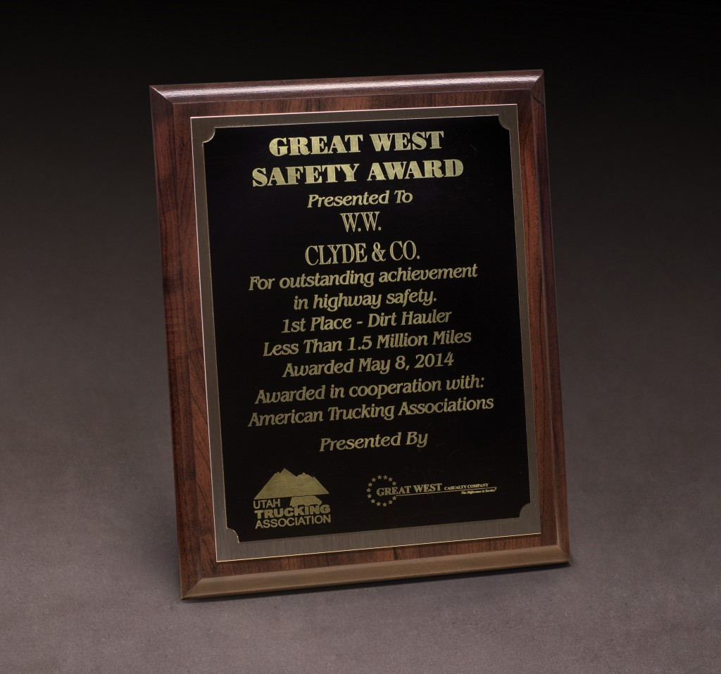 2014 UTA Great West Safety Award
