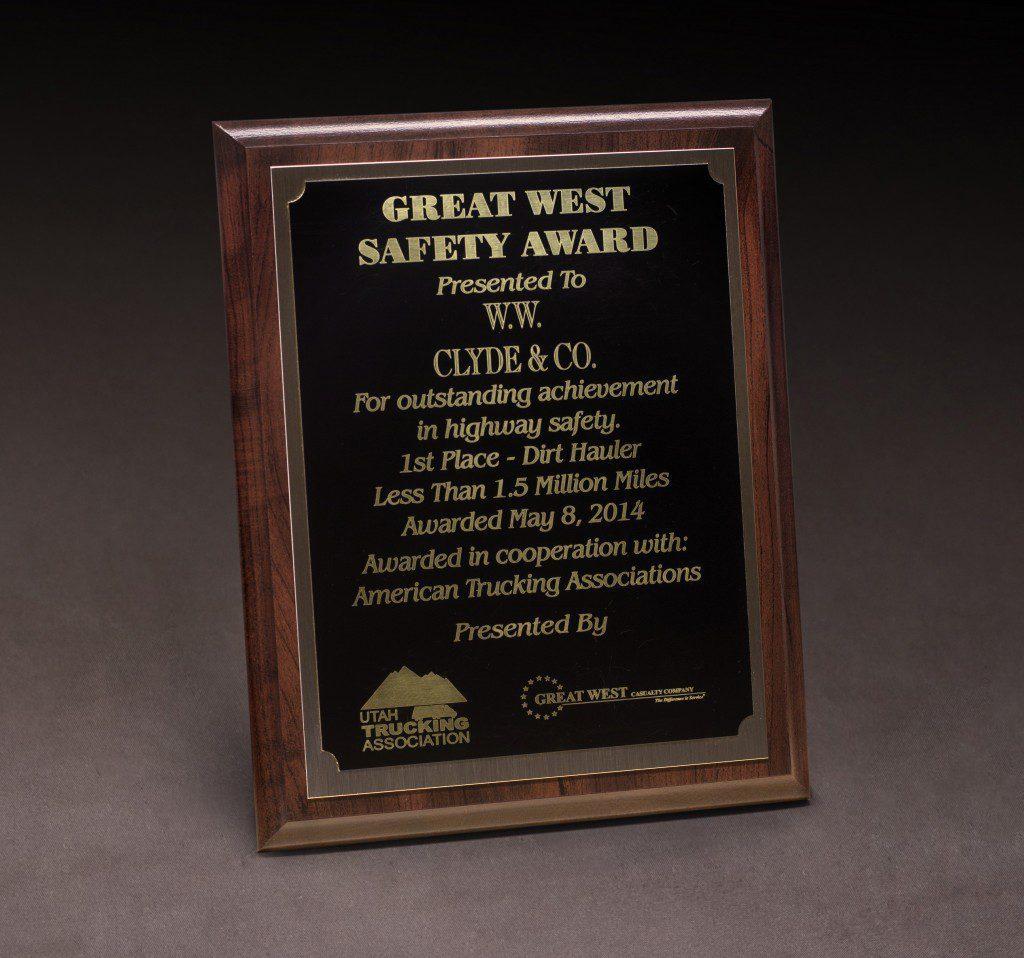 2014 UTA Great West Safety Award