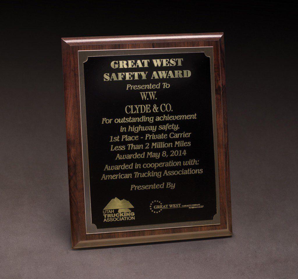 2014 UTA Great West Safety Award 2