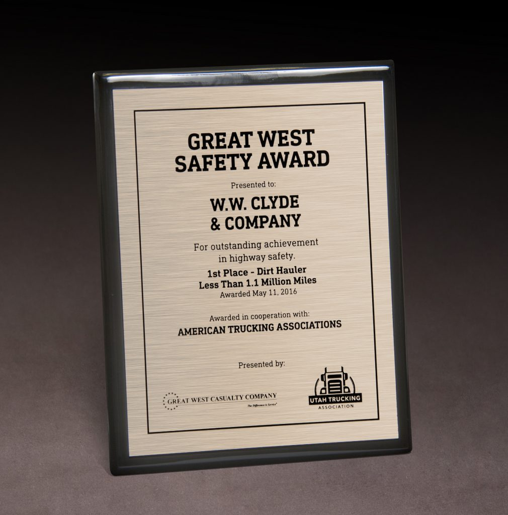 2016 Great West Safety Award