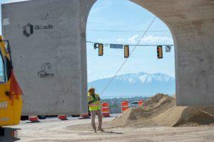 Mountain View Corridor precast bridge installed under redwood road for pedestrian tunnel