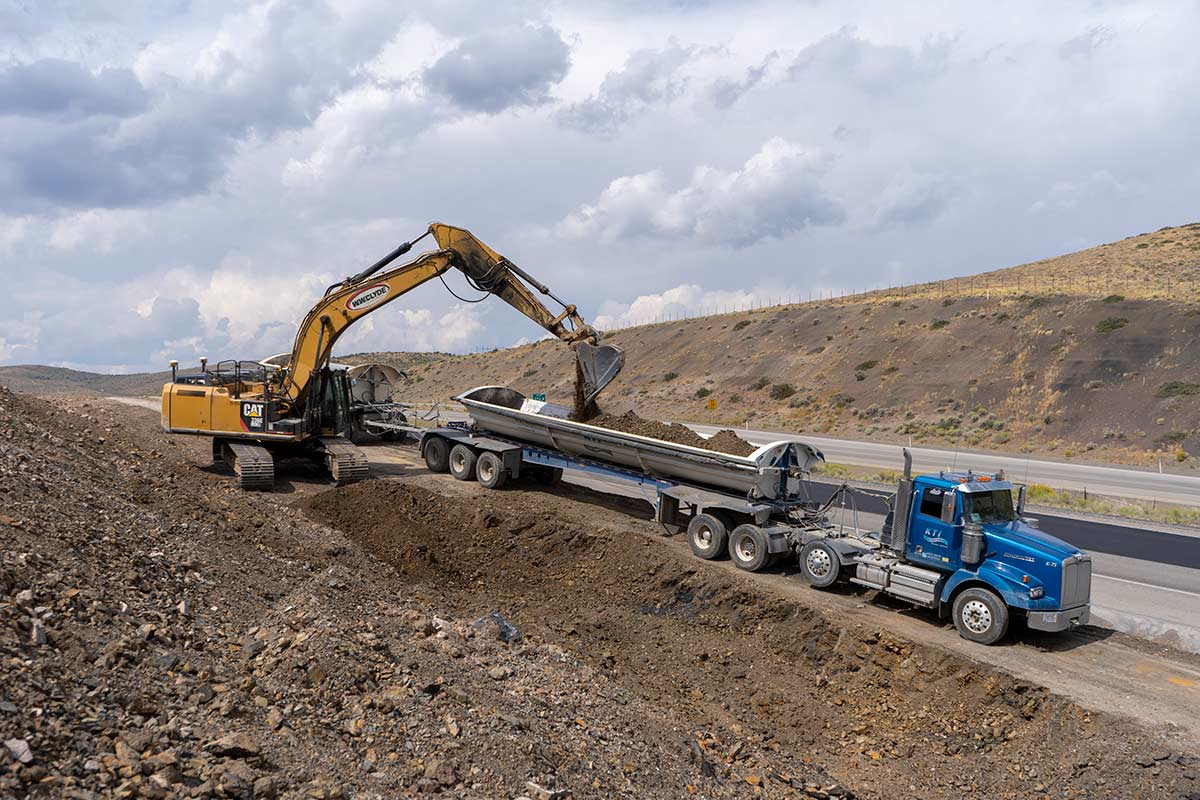 Excavation of earth in order to extend the on ramp length at Pequop pass