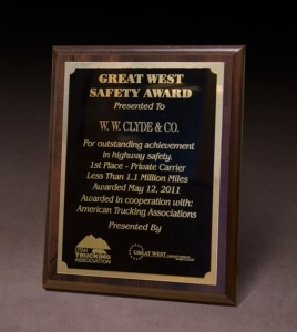 2011 Utah Trucking Association Great West Safety Award