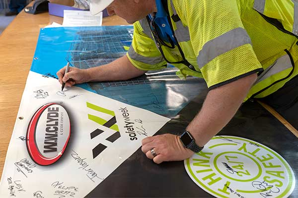 Think Safety 24/7 is the commitment employees sign as a promise to work safe.
